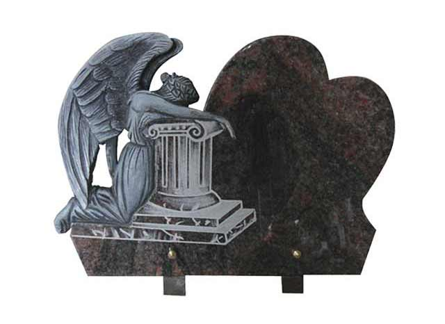 Black Granite Funeral Plaque with Antique Weeping Angel Carving