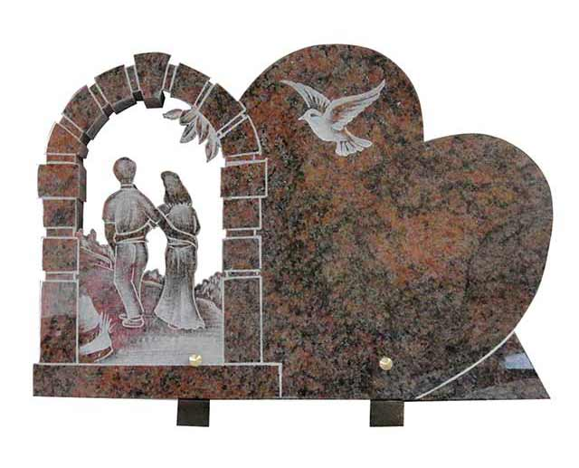 Muticolor Red Granite Funeral Plaque with Door And Married Couple Carvings