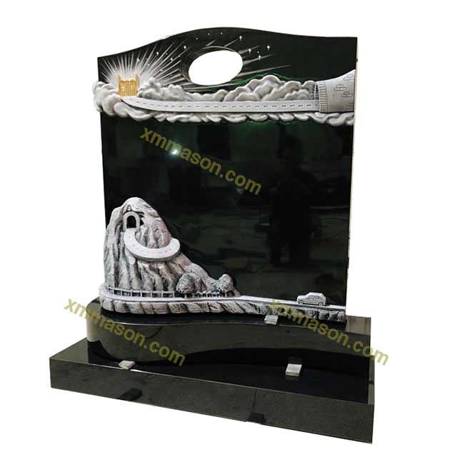 Black Granite Upright Gravestone with Colored Heaven Gate Carvingss
